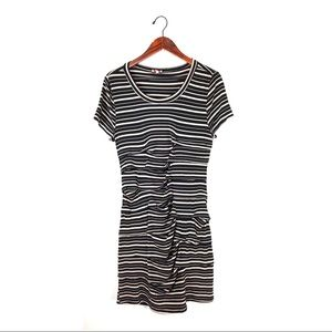 Anthropologie Pixley dress ruched striped jersey L